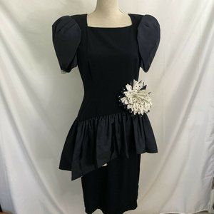 Vintage LILLIE RUBIN Navy Puff Sleeve Dress 8 USA